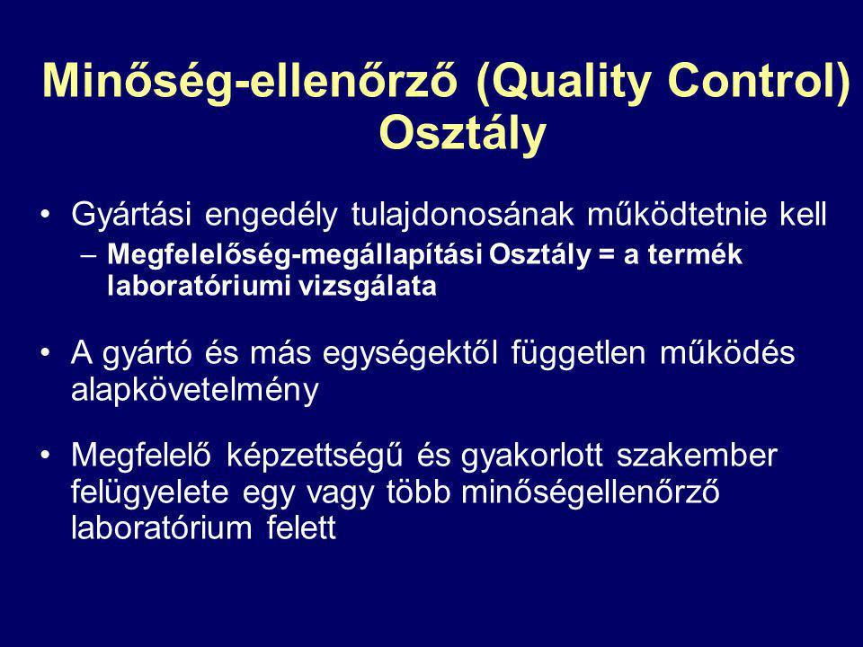 Minőség-ellenőrző (Quality Control) Osztály Gyártási engedély tulajdonosának működtetnie kell –Megfelelőség-megállapítási Osztály = a termék laboratóriumi vizsgálata A gyártó és más egységektől független működés alapkövetelmény Megfelelő képzettségű és gyakorlott szakember felügyelete egy vagy több minőségellenőrző laboratórium felett