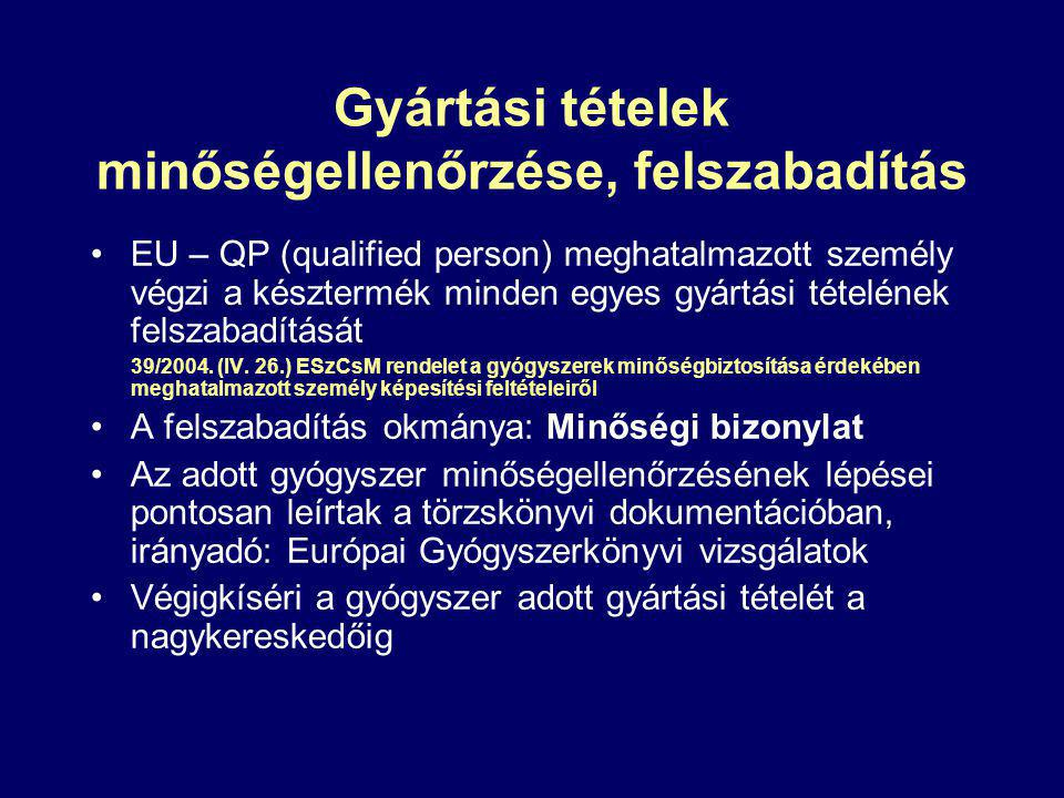 Gyártási tételek minőségellenőrzése, felszabadítás EU – QP (qualified person) meghatalmazott személy végzi a késztermék minden egyes gyártási tételének felszabadítását 39/2004.