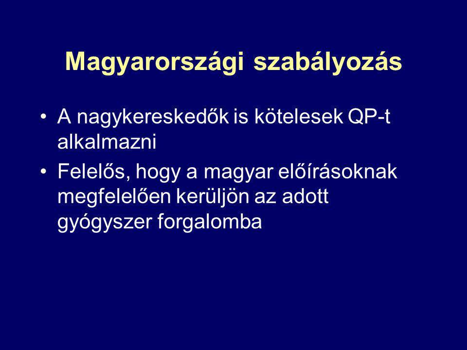 Magyarországi szabályozás A nagykereskedők is kötelesek QP-t alkalmazni Felelős, hogy a magyar előírásoknak megfelelően kerüljön az adott gyógyszer forgalomba