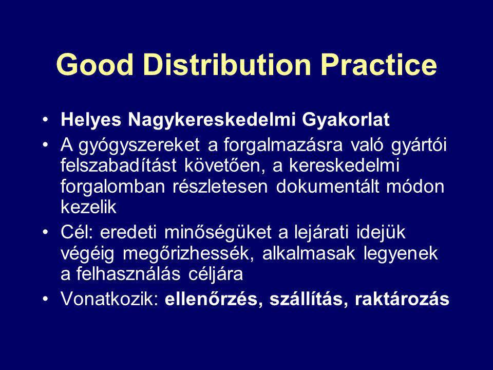 Good Distribution Practice Helyes Nagykereskedelmi Gyakorlat A gyógyszereket a forgalmazásra való gyártói felszabadítást követően, a kereskedelmi forgalomban részletesen dokumentált módon kezelik Cél: eredeti minőségüket a lejárati idejük végéig megőrizhessék, alkalmasak legyenek a felhasználás céljára Vonatkozik: ellenőrzés, szállítás, raktározás