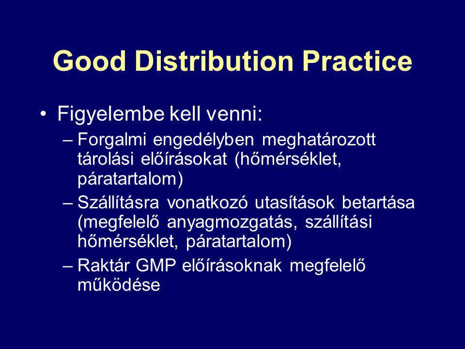 Good Distribution Practice Figyelembe kell venni: –Forgalmi engedélyben meghatározott tárolási előírásokat (hőmérséklet, páratartalom) –Szállításra vonatkozó utasítások betartása (megfelelő anyagmozgatás, szállítási hőmérséklet, páratartalom) –Raktár GMP előírásoknak megfelelő működése