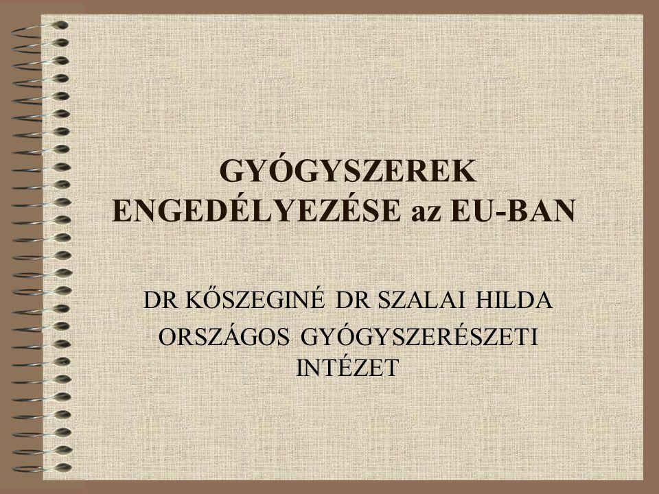 GYÓGYSZEREK ENGEDÉLYEZÉSE az EU-BAN DR KŐSZEGINÉ DR SZALAI HILDA ORSZÁGOS GYÓGYSZERÉSZETI INTÉZET