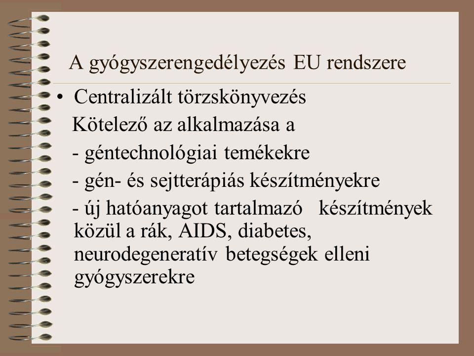 A gyógyszerengedélyezés EU rendszere Centralizált törzskönyvezés Kötelező az alkalmazása a - géntechnológiai temékekre - gén- és sejtterápiás készítményekre - új hatóanyagot tartalmazó készítmények közül a rák, AIDS, diabetes, neurodegeneratív betegségek elleni gyógyszerekre