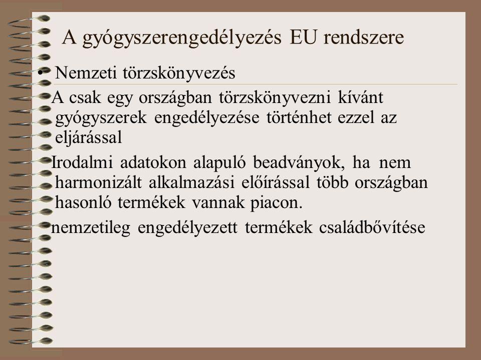 A gyógyszerengedélyezés EU rendszere Nemzeti törzskönyvezés A csak egy országban törzskönyvezni kívánt gyógyszerek engedélyezése történhet ezzel az eljárással Irodalmi adatokon alapuló beadványok, ha nem harmonizált alkalmazási előírással több országban hasonló termékek vannak piacon.