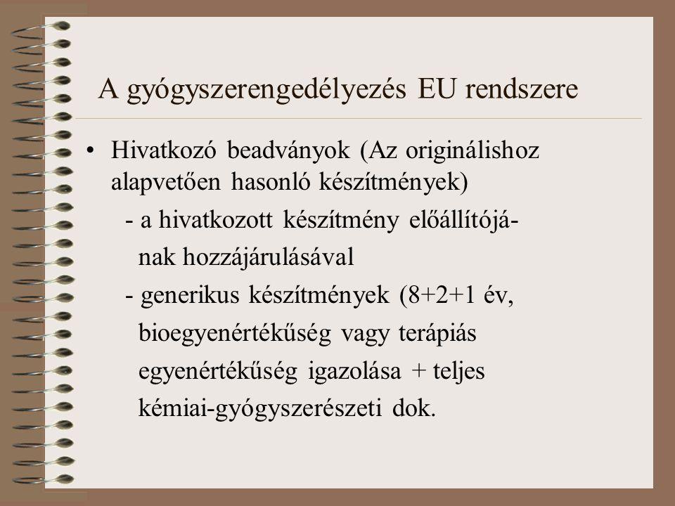 A gyógyszerengedélyezés EU rendszere Hivatkozó beadványok (Az originálishoz alapvetően hasonló készítmények) - a hivatkozott készítmény előállítójá- nak hozzájárulásával - generikus készítmények (8+2+1 év, bioegyenértékűség vagy terápiás egyenértékűség igazolása + teljes kémiai-gyógyszerészeti dok.