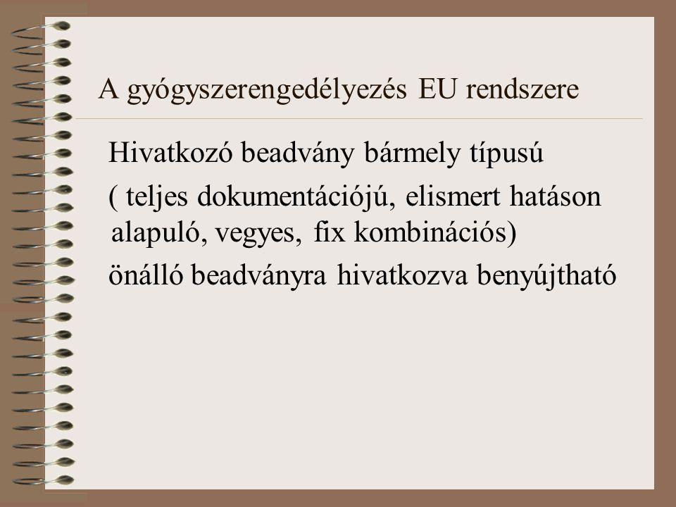 A gyógyszerengedélyezés EU rendszere Hivatkozó beadvány bármely típusú ( teljes dokumentációjú, elismert hatáson alapuló, vegyes, fix kombinációs) önálló beadványra hivatkozva benyújtható