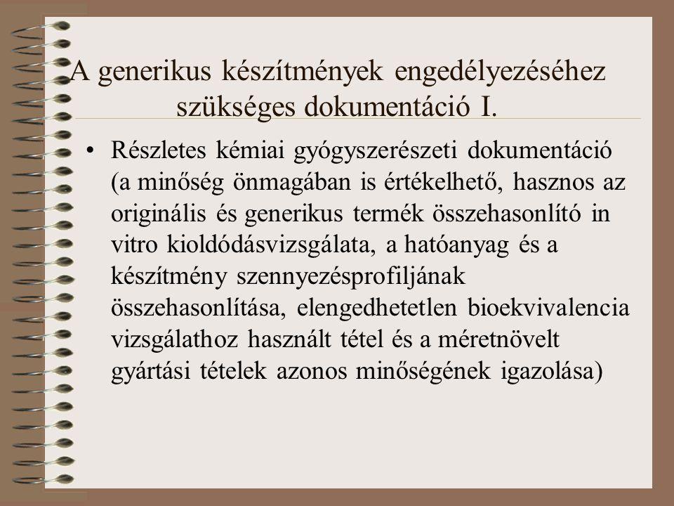 A generikus készítmények engedélyezéséhez szükséges dokumentáció I.