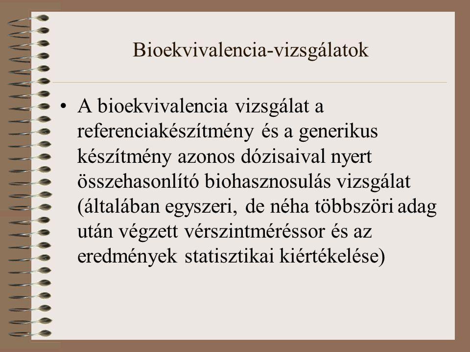 Bioekvivalencia-vizsgálatok A bioekvivalencia vizsgálat a referenciakészítmény és a generikus készítmény azonos dózisaival nyert összehasonlító biohasznosulás vizsgálat (általában egyszeri, de néha többszöri adag után végzett vérszintméréssor és az eredmények statisztikai kiértékelése)