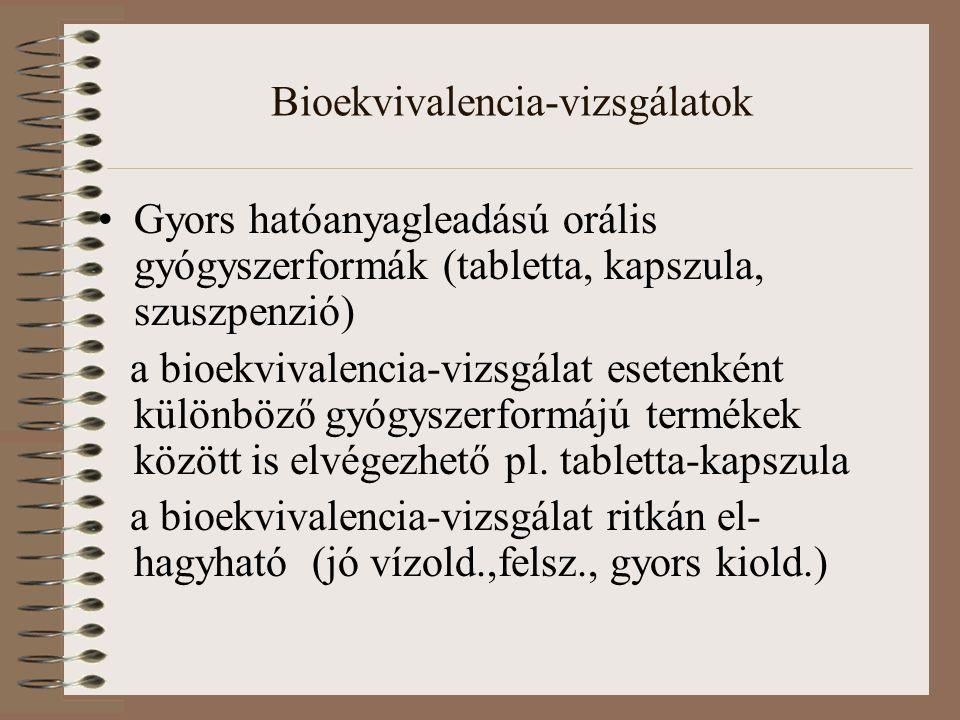 Bioekvivalencia-vizsgálatok Gyors hatóanyagleadású orális gyógyszerformák (tabletta, kapszula, szuszpenzió) a bioekvivalencia-vizsgálat esetenként különböző gyógyszerformájú termékek között is elvégezhető pl.