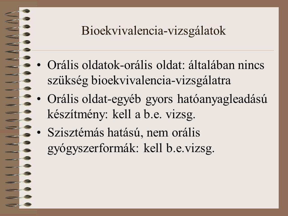 Bioekvivalencia-vizsgálatok Orális oldatok-orális oldat: általában nincs szükség bioekvivalencia-vizsgálatra Orális oldat-egyéb gyors hatóanyagleadású készítmény: kell a b.e.