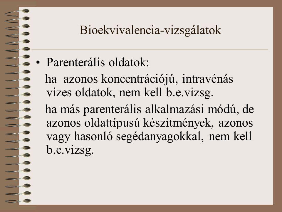 Bioekvivalencia-vizsgálatok Parenterális oldatok: ha azonos koncentrációjú, intravénás vizes oldatok, nem kell b.e.vizsg.