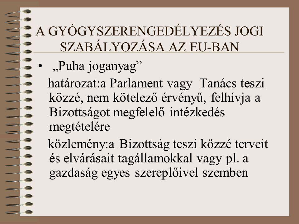 """A GYÓGYSZERENGEDÉLYEZÉS JOGI SZABÁLYOZÁSA AZ EU-BAN """"Puha joganyag határozat:a Parlament vagy Tanács teszi közzé, nem kötelező érvényű, felhívja a Bizottságot megfelelő intézkedés megtételére közlemény:a Bizottság teszi közzé terveit és elvárásait tagállamokkal vagy pl."""