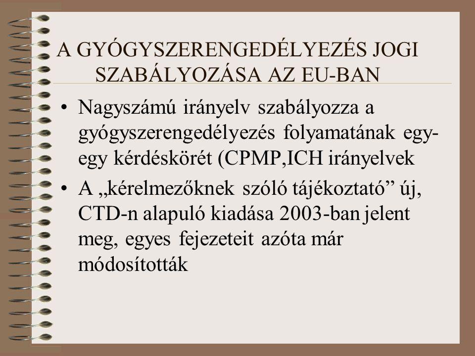 """A GYÓGYSZERENGEDÉLYEZÉS JOGI SZABÁLYOZÁSA AZ EU-BAN Nagyszámú irányelv szabályozza a gyógyszerengedélyezés folyamatának egy- egy kérdéskörét (CPMP,ICH irányelvek A """"kérelmezőknek szóló tájékoztató új, CTD-n alapuló kiadása 2003-ban jelent meg, egyes fejezeteit azóta már módosították"""
