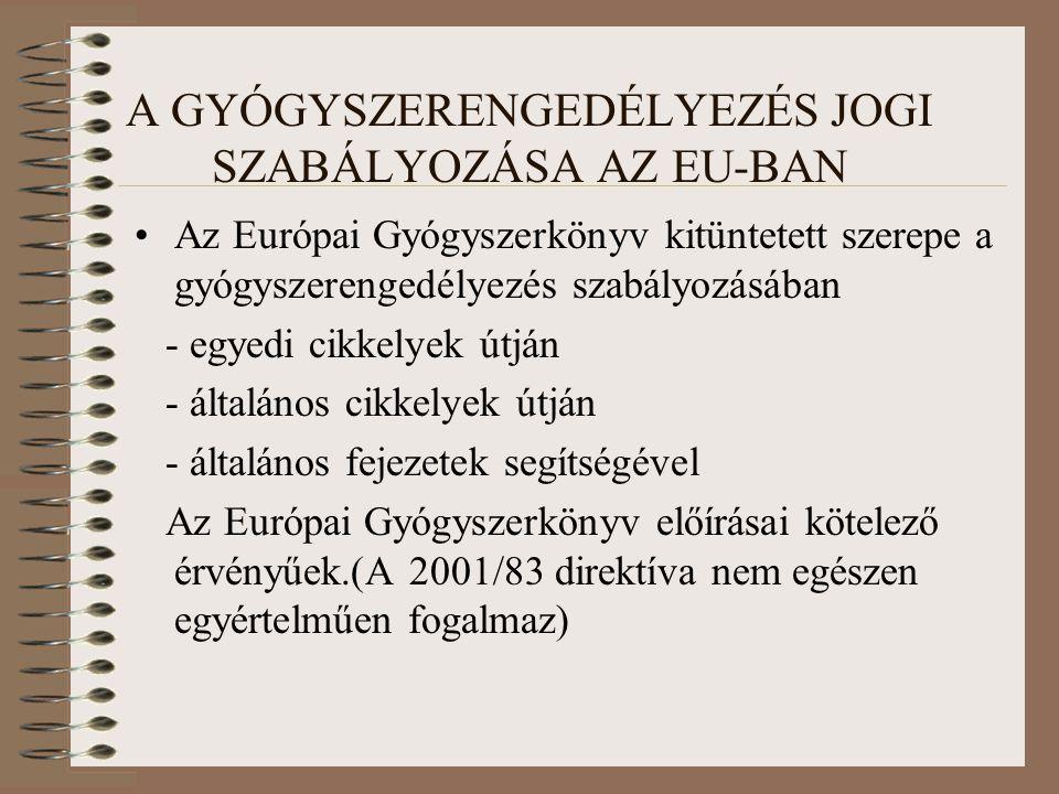 Magyarországi jogi szabályozás Gyógyszertörvény Gyógyszertörzskönyvezési rendelet - Hatályba helyezték a módosított 2001/83 EU direktívát(kivéve az adatkizárólagosság) - A Ph.Hg.VIII.