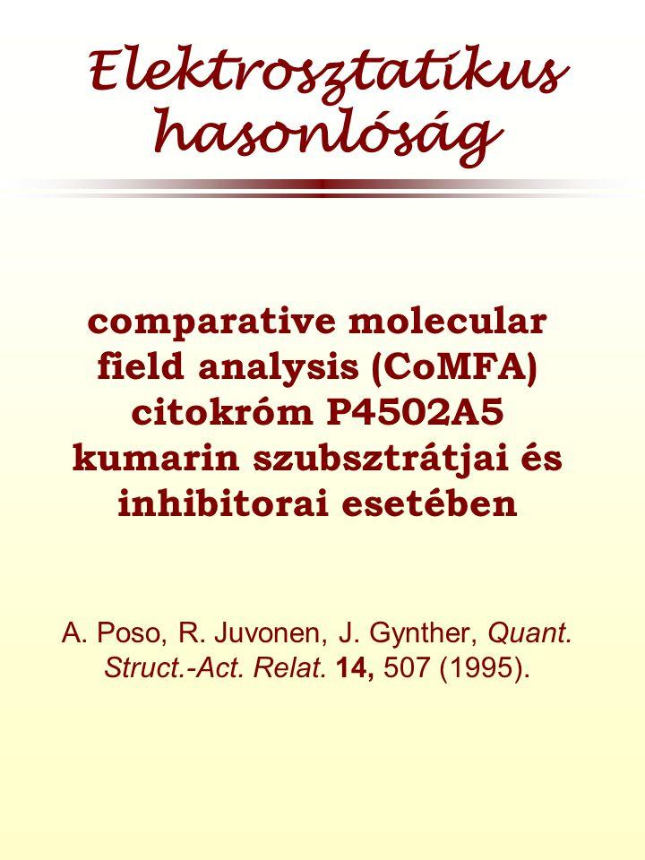 Elektrosztatikus hasonlóság  comparative molecular field analysis (CoMFA) citokróm P4502A5 kumarin szubsztrátjai és inhibitorai esetében A.