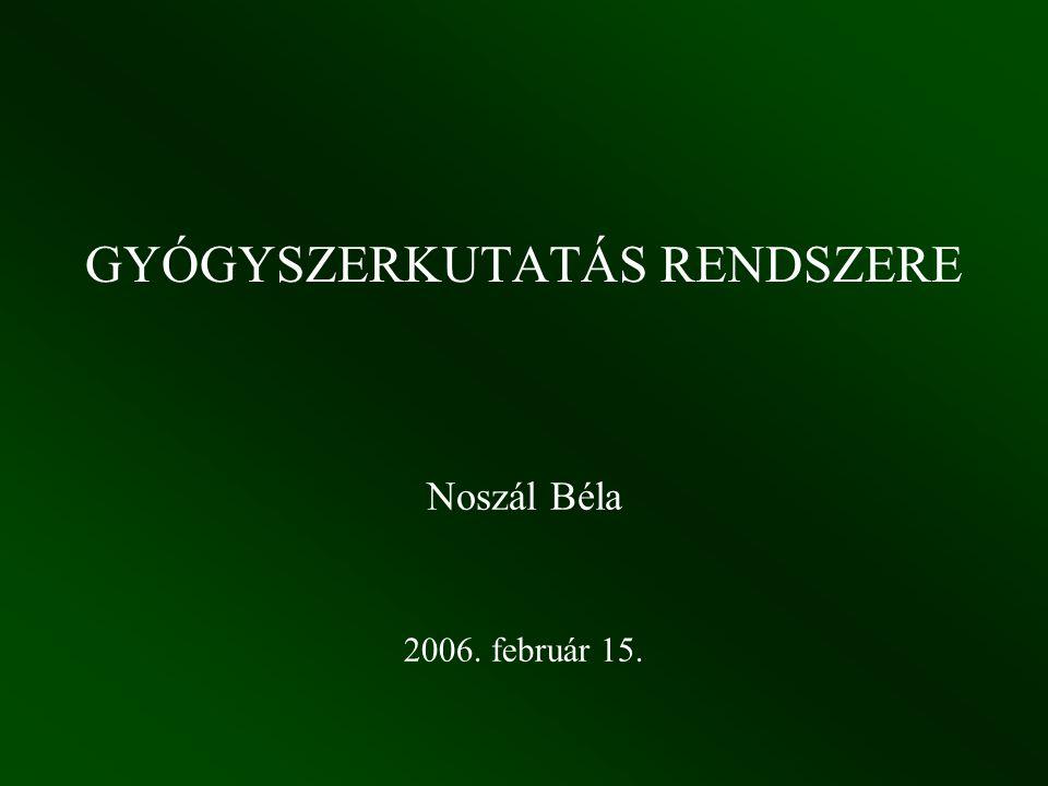 GYÓGYSZERKUTATÁS RENDSZERE Noszál Béla 2006. február 15.