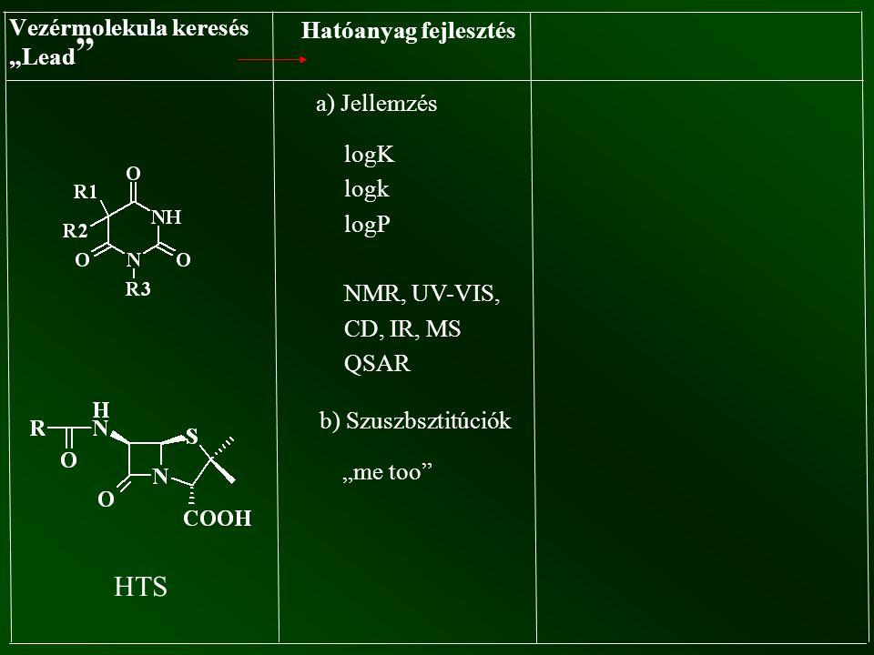 """Vezérmolekula keresés """"Lead """" Hatóanyag fejlesztés a) Jellemzés logK logk logP NMR, UV-VIS, CD, IR, MS QSAR b) Szuszbsztitúciók """"me too"""" HTS"""