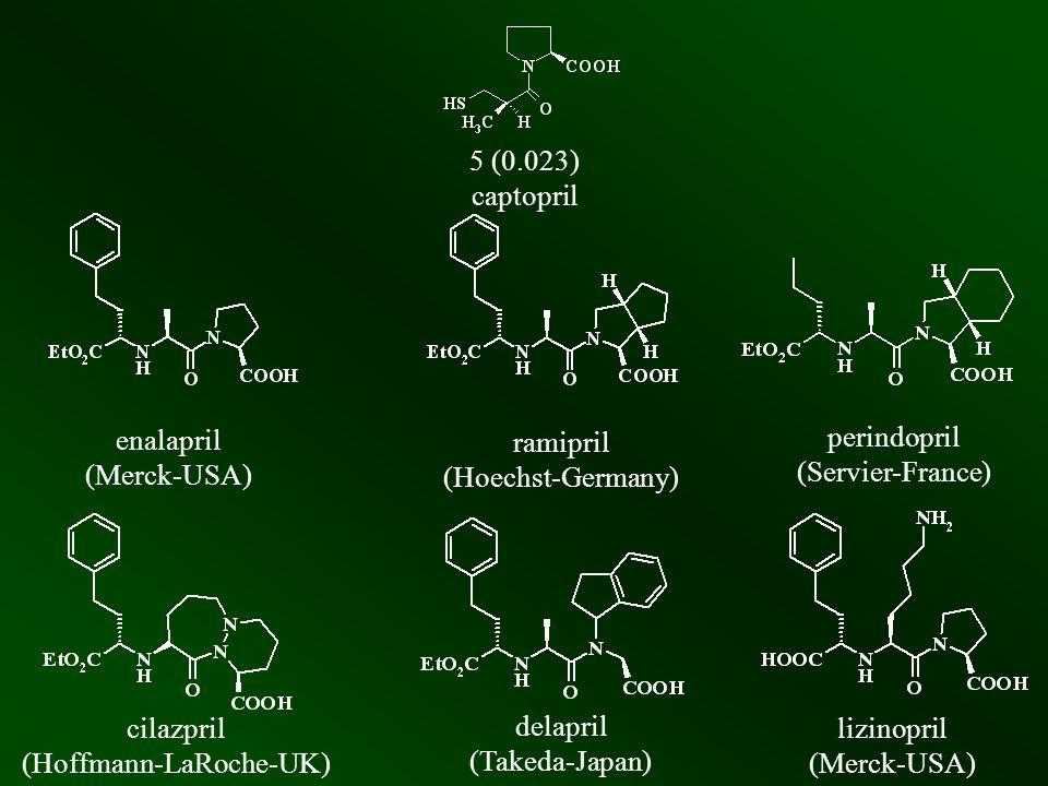 5 (0.023) captopril enalapril (Merck-USA) ramipril (Hoechst-Germany) perindopril (Servier-France) cilazpril (Hoffmann-LaRoche-UK) delapril (Takeda-Jap