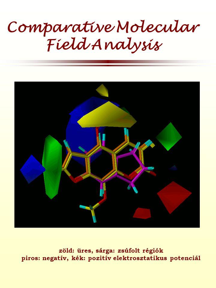 Comparative Molecular Field Analysis zöld: üres, sárga: zsúfolt régiók piros: negatív, kék: pozitív elektrosztatikus potenciál