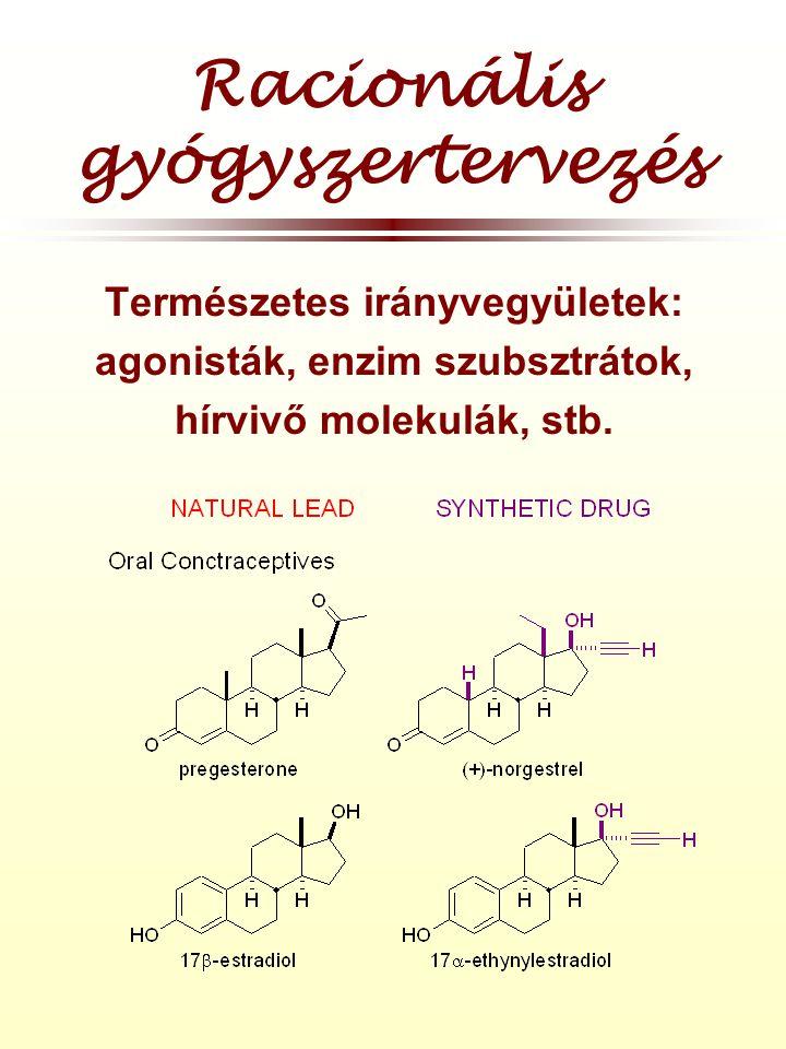 Racionális gyógyszertervezés Természetes irányvegyületek: agonisták, enzim szubsztrátok, hírvivő molekulák, stb.