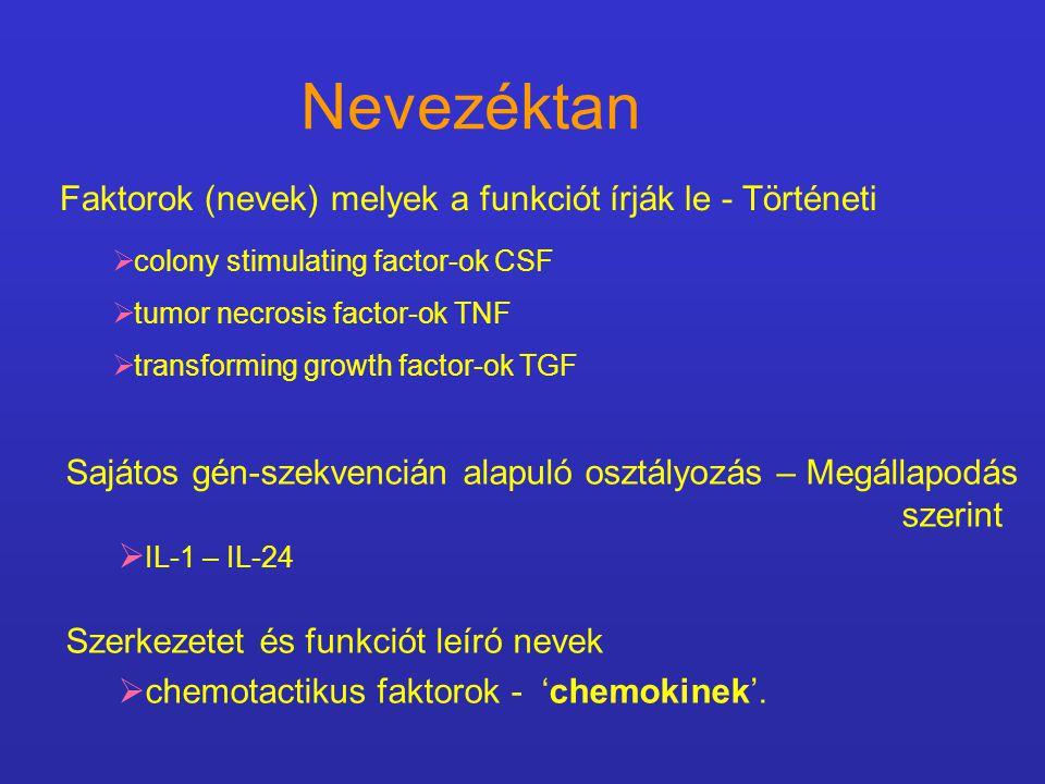 Faktorok (nevek) melyek a funkciót írják le - Történeti  colony stimulating factor-ok CSF  tumor necrosis factor-ok TNF  transforming growth factor