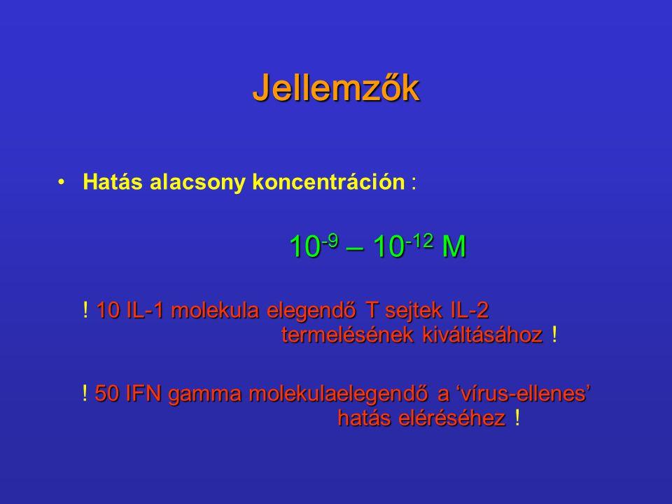 Jellemzők Hatás alacsony koncentráción : 10 -9 – 10 -12 M 10 IL-1 molekula elegendő T sejtek IL-2 termelésének kiváltásához ! 50 IFN gamma molekulaele
