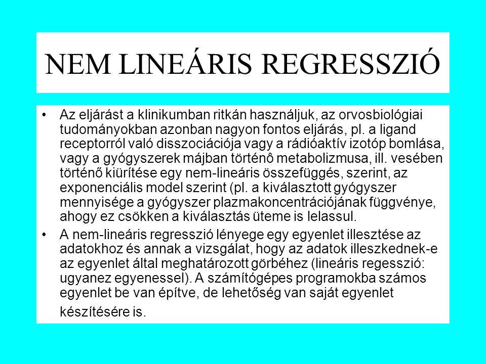 NEM LINEÁRIS REGRESSZIÓ Az eljárást a klinikumban ritkán használjuk, az orvosbiológiai tudományokban azonban nagyon fontos eljárás, pl. a ligand recep