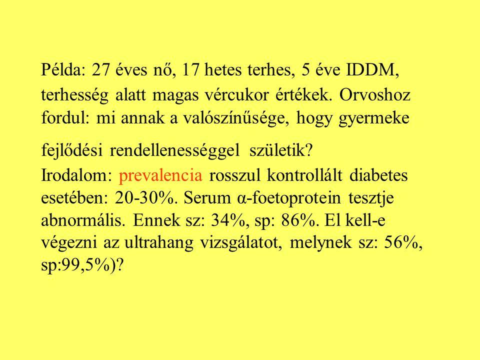 Példa: 27 éves nő, 17 hetes terhes, 5 éve IDDM, terhesség alatt magas vércukor értékek. Orvoshoz fordul: mi annak a valószínűsége, hogy gyermeke fejlő