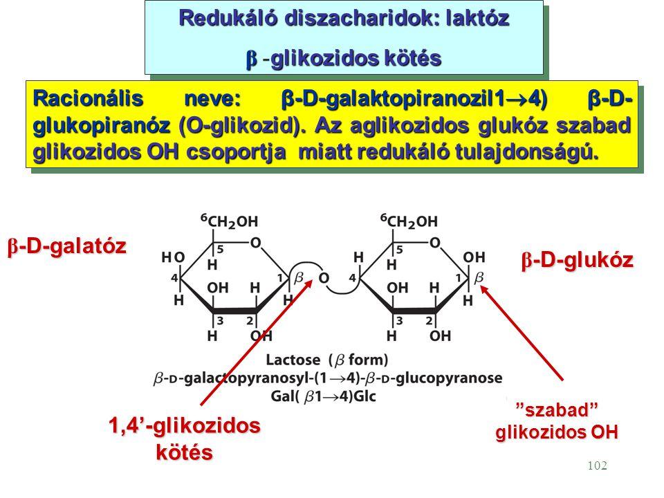 102 Redukáló diszacharidok: laktóz β glikozidos kötés β - glikozidos kötés Redukáló diszacharidok: laktóz β glikozidos kötés β - glikozidos kötés Raci