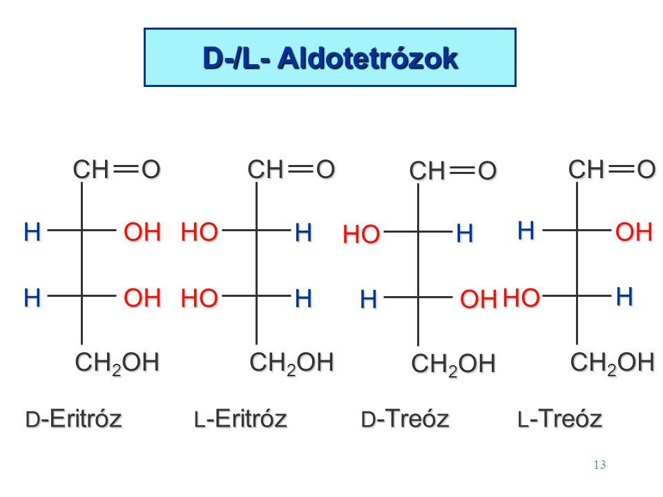 13 D-/L- Aldotetrózok CHO CH 2 OH HOH HOH CHO H HO HOH H OHCHO H HO D -Eritróz L -Eritróz D -Treóz L -Treóz CHO CH 2 OH HO H H HO