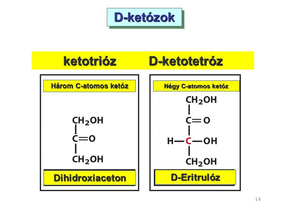 14 D-ketózokD-ketózok ketotriózD-ketotetróz Három C-atomos ketóz Négy C-atomos ketóz D-Eritrulóz Dihidroxiaceton