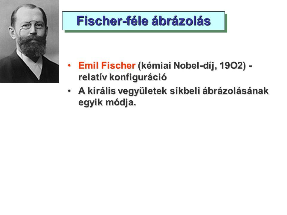 Emil Fischer (kémiai Nobel-díj, 19O2) - relatív konfigurációEmil Fischer (kémiai Nobel-díj, 19O2) - relatív konfiguráció A királis vegyületek síkbeli