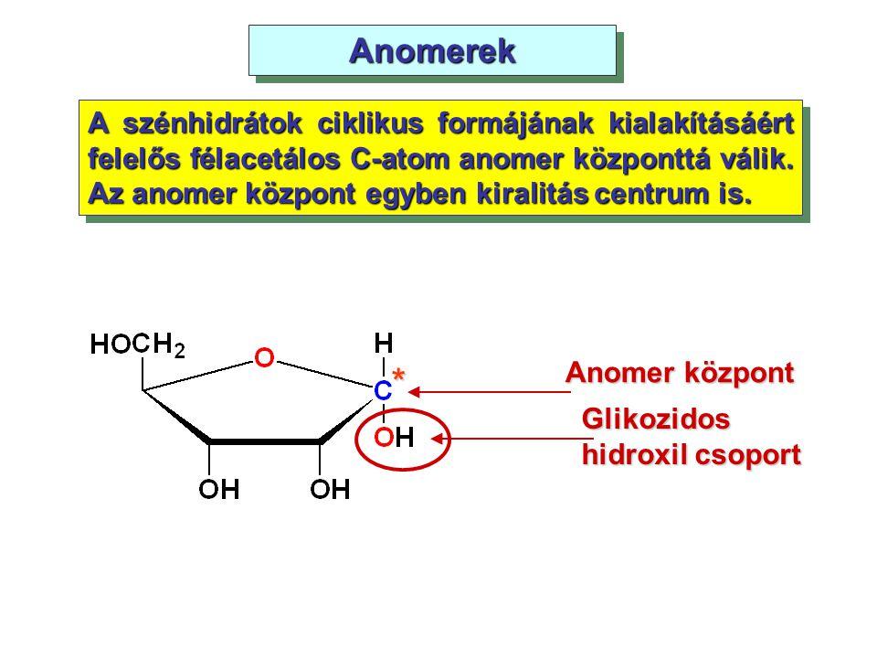 AnomerekAnomerek A szénhidrátok ciklikus formájának kialakításáért felelős félacetálos C-atom anomer központtá válik. Az anomer központ egyben kiralit