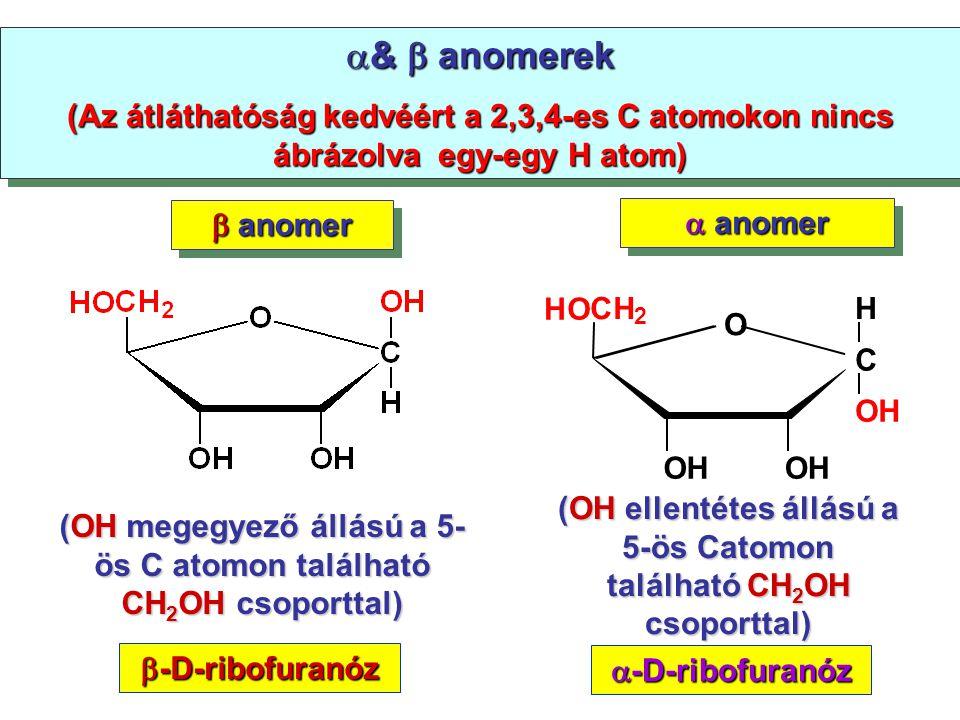  &  anomerek (Az átláthatóság kedvéért a 2,3,4-es C atomokon nincs ábrázolva egy-egy H atom)  &  anomerek (Az átláthatóság kedvéért a 2,3,4-es C a