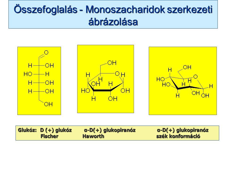 Összefoglalás - Monoszacharidok szerkezeti ábrázolása Glukóz: D (+) glukóz α-D(+) glukopiranóz α-D(+) glukopiranóz Fischer Haworth szék konformáció