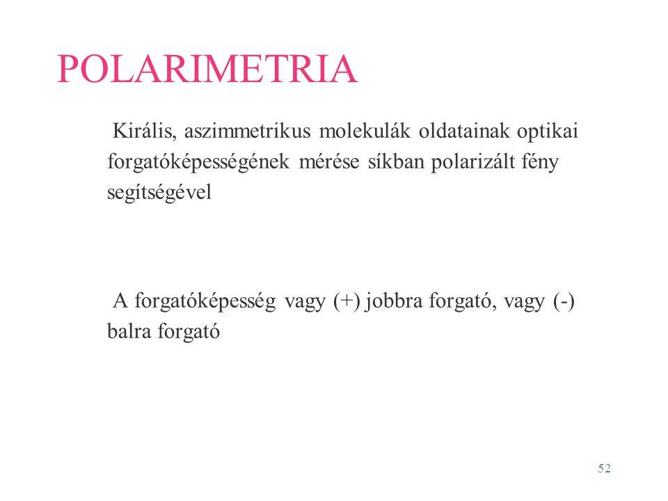 52 POLARIMETRIA Királis, aszimmetrikus molekulák oldatainak optikai forgatóképességének mérése síkban polarizált fény segítségével A forgatóképesség v