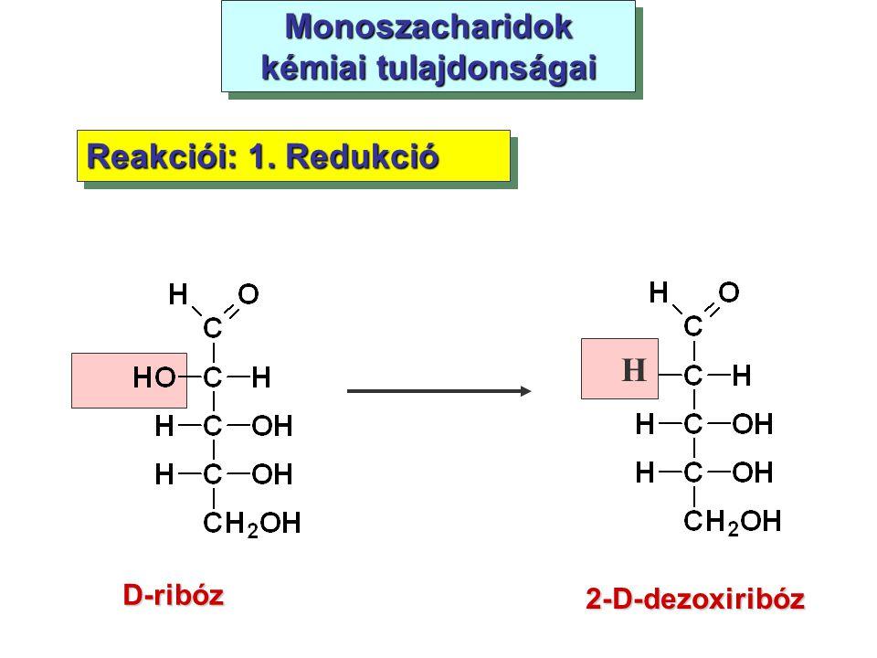 Monoszacharidok kémiai tulajdonságai D-ribóz Reakciói: 1. Redukció 2-D-dezoxiribóz H