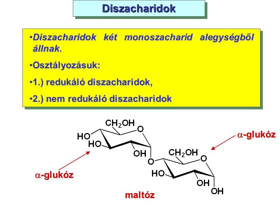 DiszacharidokDiszacharidok Diszacharidok két monoszacharid alegységből állnak.Diszacharidok két monoszacharid alegységből állnak. Osztályozásuk:Osztál