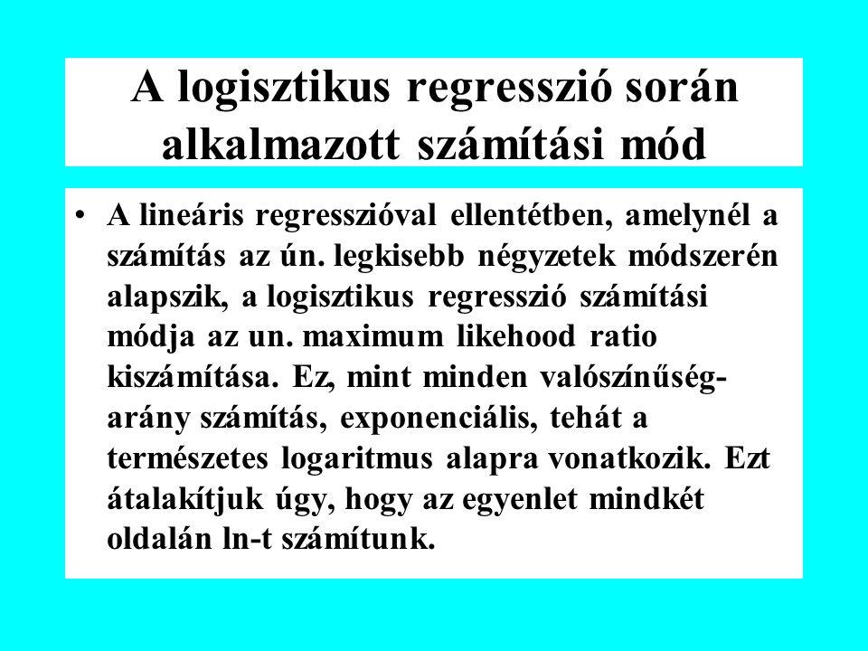 A logisztikus regresszió során alkalmazott számítási mód A lineáris regresszióval ellentétben, amelynél a számítás az ún. legkisebb négyzetek módszeré