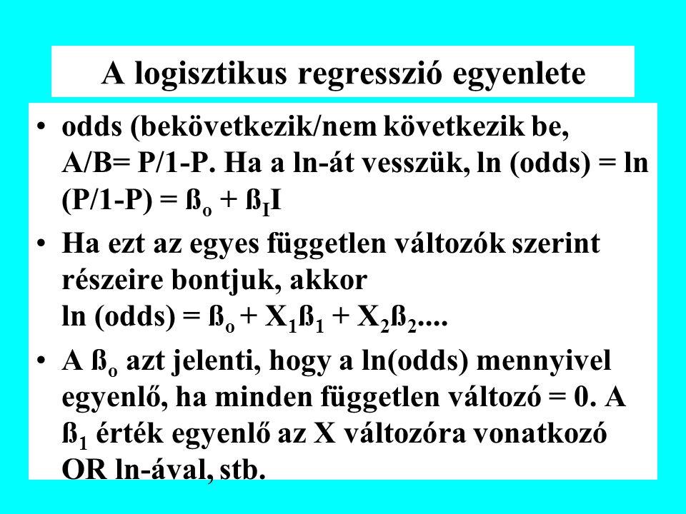 A logisztikus regresszió egyenlete odds (bekövetkezik/nem következik be, A/B= P/1-P. Ha a ln-át vesszük, ln (odds) = ln (P/1-P) = ß o + ß I I Ha ezt a