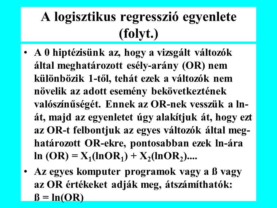 A logisztikus regresszió egyenlete (folyt.) A 0 hiptézisünk az, hogy a vizsgált változók által meghatározott esély-arány (OR) nem különbözik 1-től, tehát ezek a változók nem növelik az adott esemény bekövetkeztének valószínűségét.