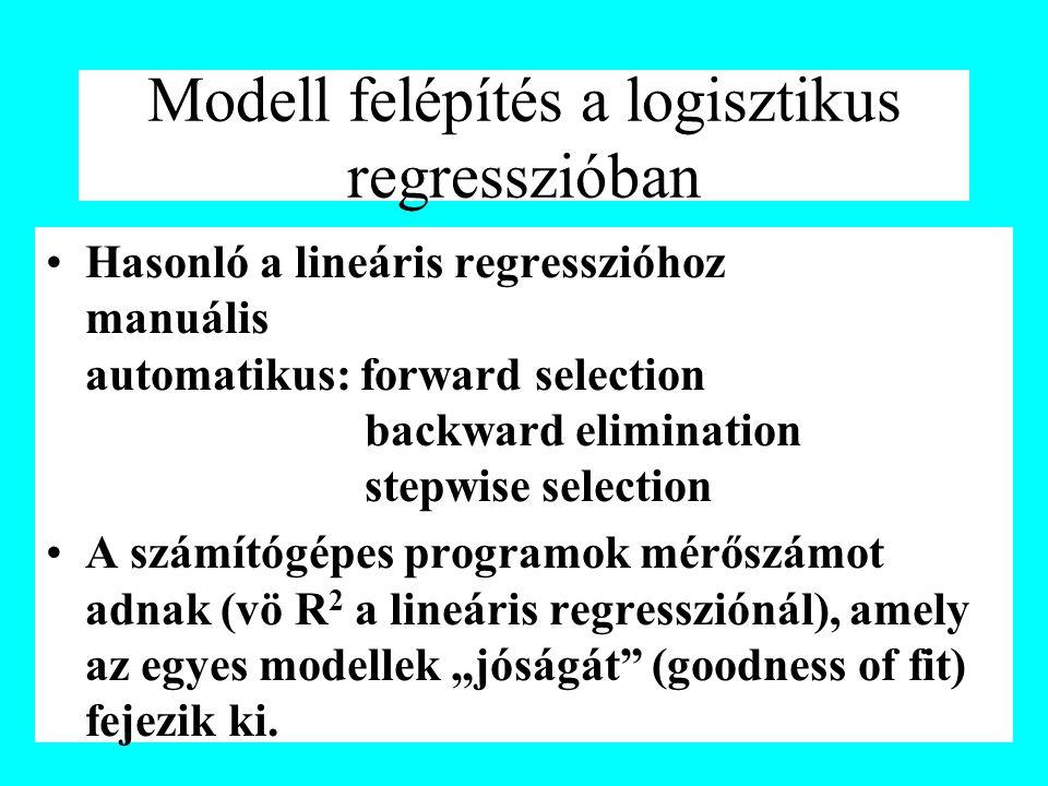 """Modell felépítés a logisztikus regresszióban Hasonló a lineáris regresszióhoz manuális automatikus: forward selection backward elimination stepwise selection A számítógépes programok mérőszámot adnak (vö R 2 a lineáris regressziónál), amely az egyes modellek """"jóságát (goodness of fit) fejezik ki."""