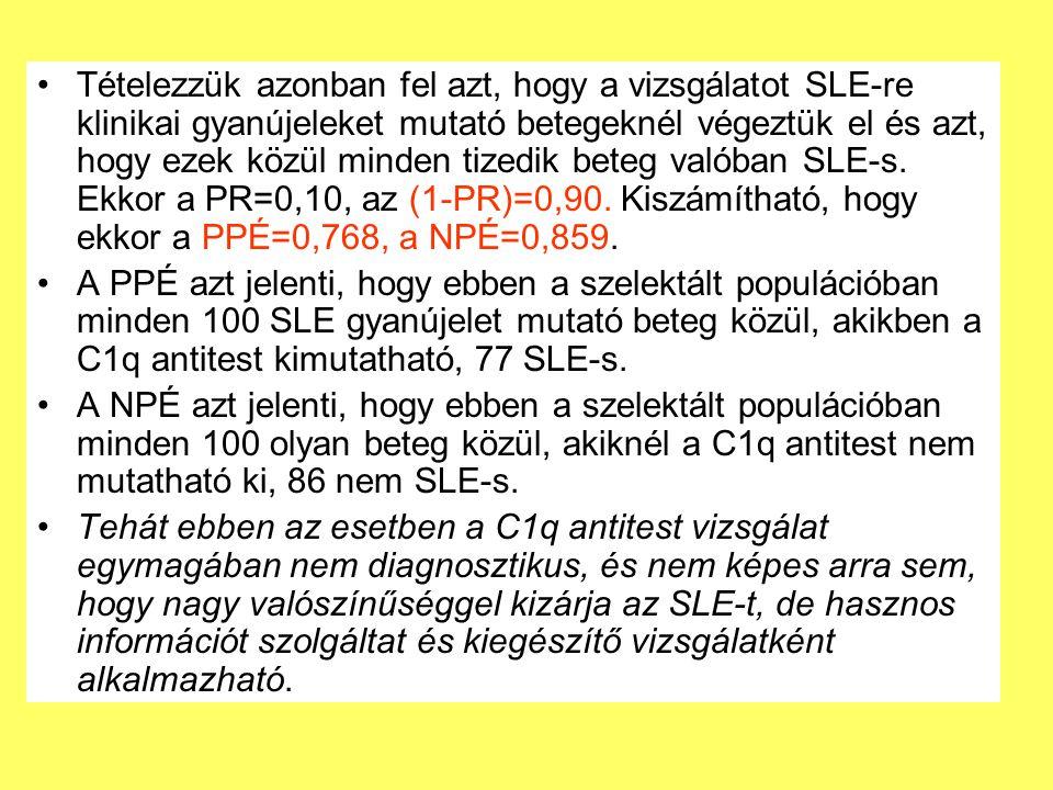 Tételezzük azonban fel azt, hogy a vizsgálatot SLE-re klinikai gyanújeleket mutató betegeknél végeztük el és azt, hogy ezek közül minden tizedik beteg valóban SLE-s.
