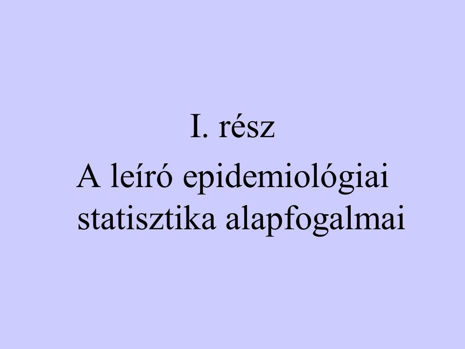 I. rész A leíró epidemiológiai statisztika alapfogalmai