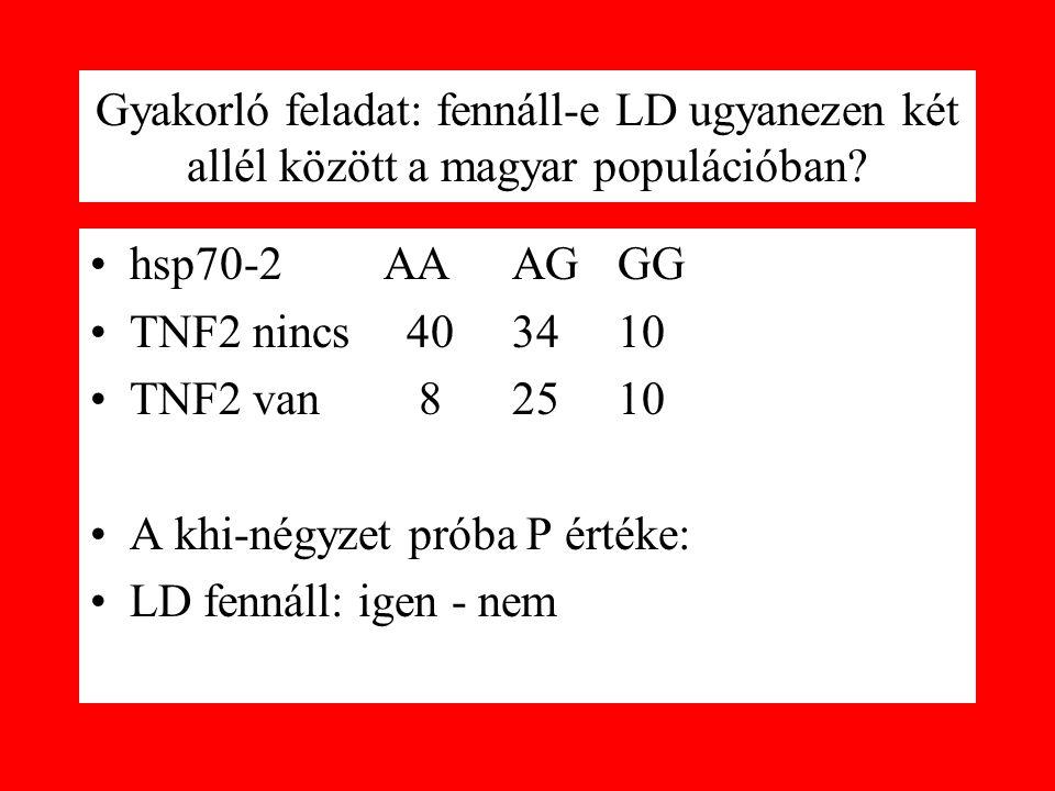 Gyakorló feladat: fennáll-e LD ugyanezen két allél között a magyar populációban? hsp70-2 AAAGGG TNF2 nincs403410 TNF2 van 82510 A khi-négyzet próba P