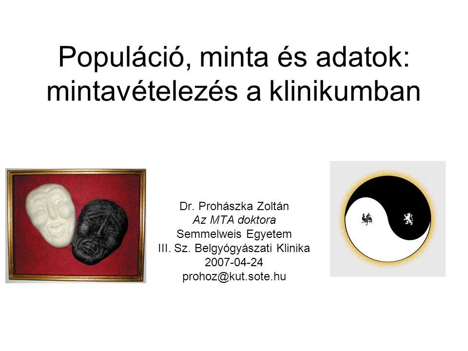 Populáció, minta és adatok: mintavételezés a klinikumban Dr.