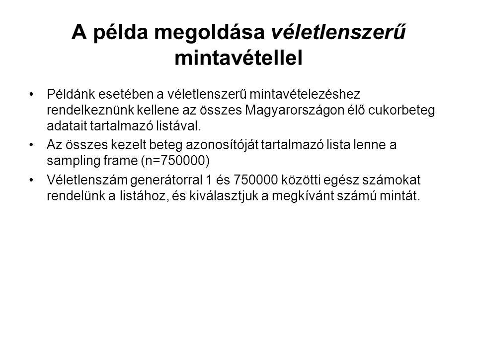 A példa megoldása véletlenszerű mintavétellel Példánk esetében a véletlenszerű mintavételezéshez rendelkeznünk kellene az összes Magyarországon élő cukorbeteg adatait tartalmazó listával.