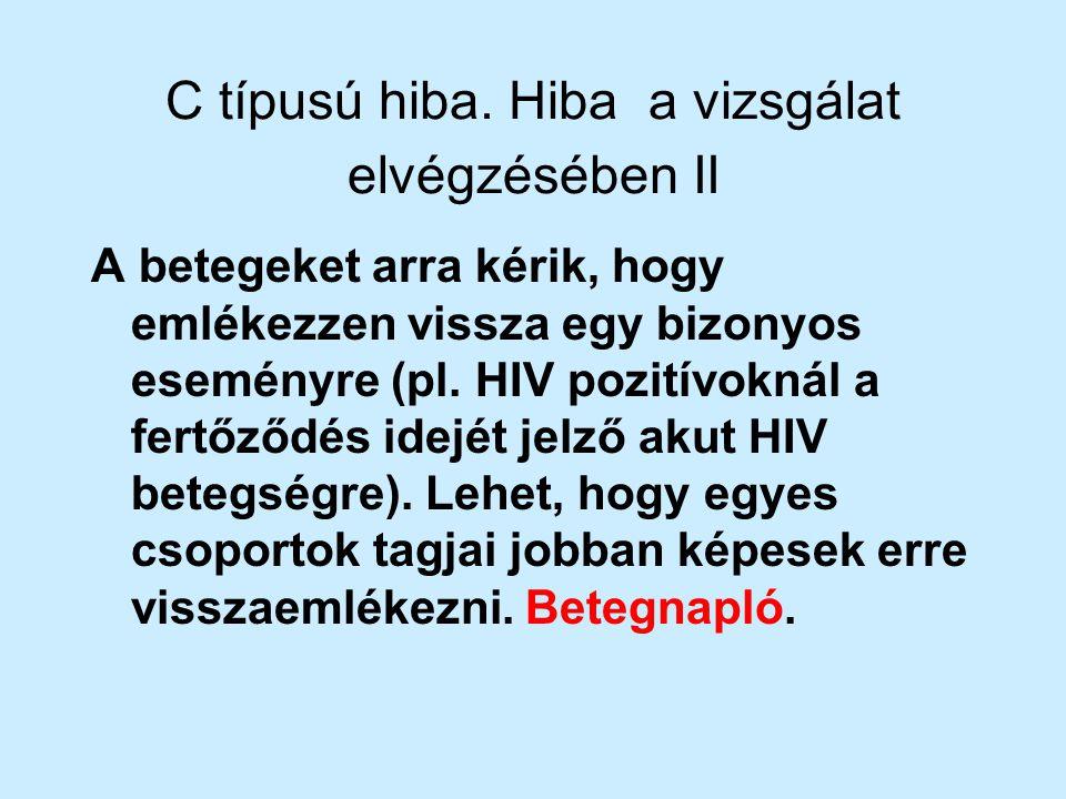 C típusú hiba. Hiba a vizsgálat elvégzésében II A betegeket arra kérik, hogy emlékezzen vissza egy bizonyos eseményre (pl. HIV pozitívoknál a fertőződ