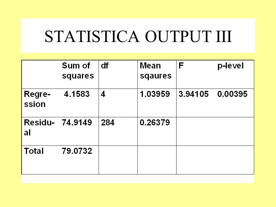 STATISTICA OUTPUT III