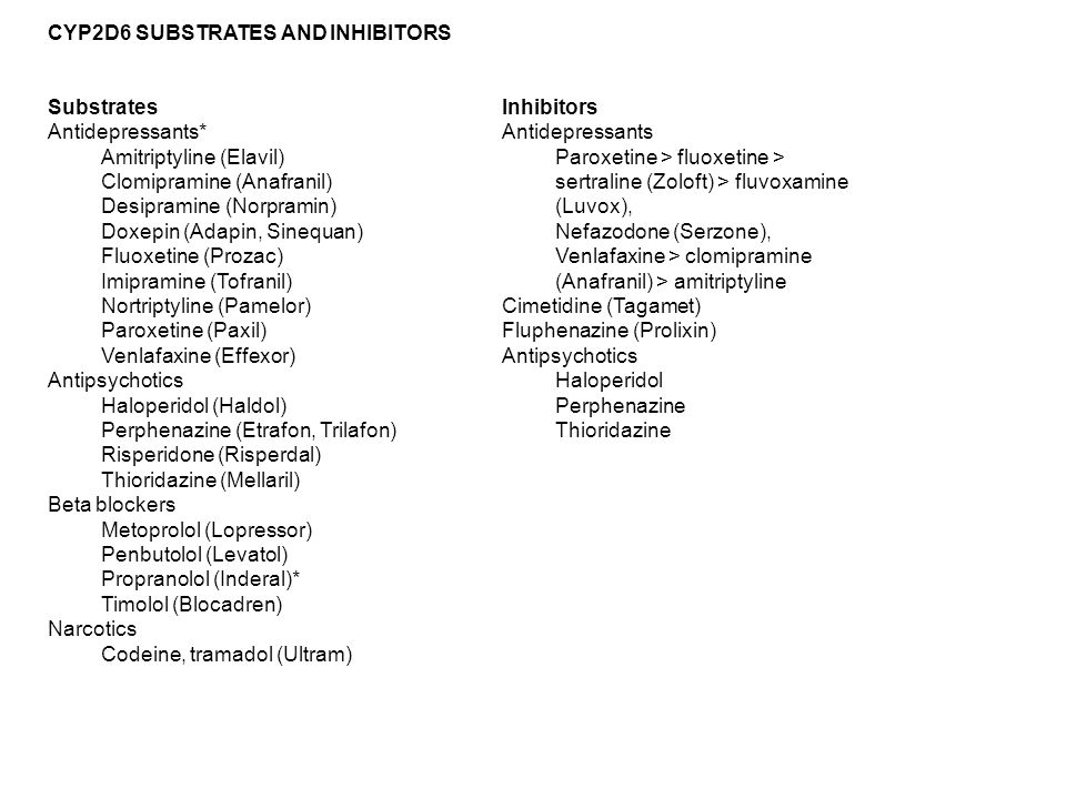 Inhibitors Antidepressants Paroxetine > fluoxetine > sertraline (Zoloft) > fluvoxamine (Luvox), Nefazodone (Serzone), Venlafaxine > clomipramine (Anafranil) > amitriptyline Cimetidine (Tagamet) Fluphenazine (Prolixin) Antipsychotics Haloperidol Perphenazine Thioridazine CYP2D6 SUBSTRATES AND INHIBITORS Substrates Antidepressants* Amitriptyline (Elavil) Clomipramine (Anafranil) Desipramine (Norpramin) Doxepin (Adapin, Sinequan) Fluoxetine (Prozac) Imipramine (Tofranil) Nortriptyline (Pamelor) Paroxetine (Paxil) Venlafaxine (Effexor) Antipsychotics Haloperidol (Haldol) Perphenazine (Etrafon, Trilafon) Risperidone (Risperdal) Thioridazine (Mellaril) Beta blockers Metoprolol (Lopressor) Penbutolol (Levatol) Propranolol (Inderal)* Timolol (Blocadren) Narcotics Codeine, tramadol (Ultram)